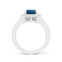 Toggle Emerald-Cut London Blue Topaz Engagement Ring with Halo