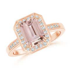Diamond Halo Emerald Cut Morganite Engagement Ring
