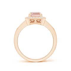 Toggle Emerald-Cut Morganite Engagement Ring with Diamond Halo