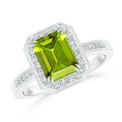 Diamond Halo Emerald Cut Peridot Engagement Ring