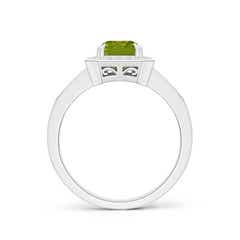Toggle Emerald-Cut Peridot Engagement Ring with Diamond Halo
