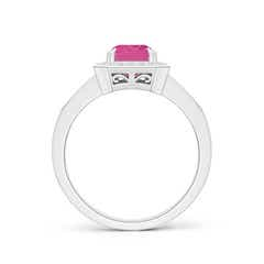 Toggle Emerald-Cut Pink Sapphire Engagement Ring with Diamond Halo