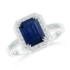 Emerald-Cut Blue Sapphire Engagement Ring with Diamond Halo