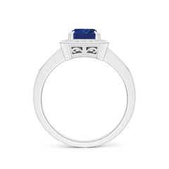 Toggle Emerald-Cut Blue Sapphire Engagement Ring with Diamond Halo