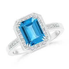 Diamond Halo Emerald Cut Swiss Blue Topaz Engagement Ring
