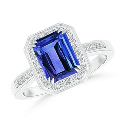 Emerald-Cut Tanzanite Engagement Ring with Diamond Halo