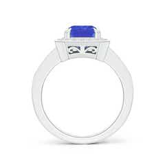 Toggle Emerald-Cut Tanzanite Engagement Ring with Diamond Halo