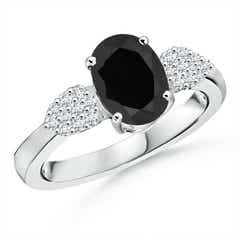 Oval Black Onyx Solitaire Ring with Diamond Accents