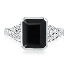 Emerald-Cut Black Onyx Cocktail Ring with Diamond Accents