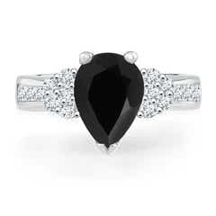 Pear Black Onyx Solitaire Ring with Diamond Accents