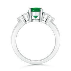 Round Emerald Solitaire Ring With Trio Diamonds