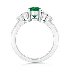 Toggle Round Emerald Solitaire Ring With Trio Diamonds