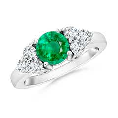 Round Emerald Solitaire Ring With Trio Diamonds