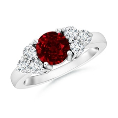 Round Ruby Solitaire Ring With Trio Diamonds