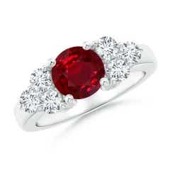 GIA Certified Round Burmese Ruby Ring with Trio Diamonds