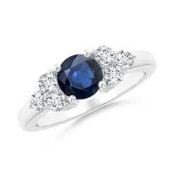 Round Sapphire Solitaire Ring With Trio Diamonds