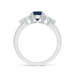 Toggle Round Sapphire Solitaire Ring With Trio Diamonds