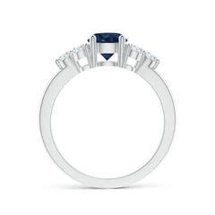 Round Sapphire Solitaire Ring With Trio Diamonds