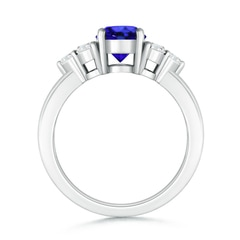 Toggle Round Tanzanite Solitaire Ring With Trio Diamonds