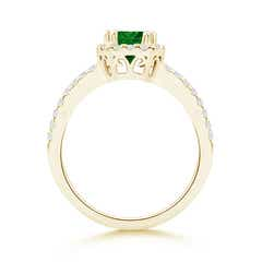 Toggle Split Shank Emerald Halo Ring with Diamond Accents