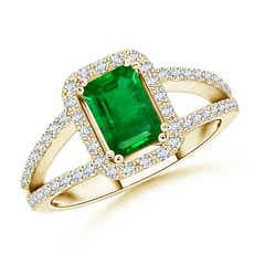 Split Shank Emerald Halo Ring with Diamond Accents