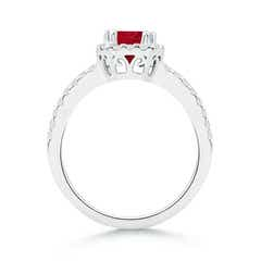 Toggle Split Shank Ruby Halo Ring with Diamond Accents