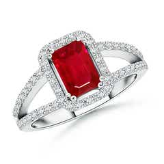 Split Shank Ruby Halo Ring with Diamond Accents