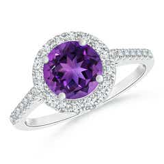 Round Amethyst Halo Ring with Diamond Accents