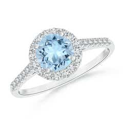 Round Aquamarine Halo Ring with Diamond Accents