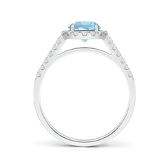 Toggle Round Aquamarine Halo Ring with Diamond Accents