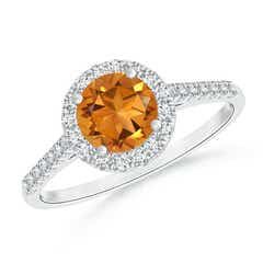 Round Citrine Halo Ring with Diamond Accents