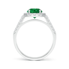 Toggle Round Emerald Halo Ring with Diamond Accents