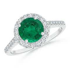 Emerald and Diamond Halo Cathedral Ring (GIA Certified Emerald)
