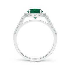 Toggle GIA Certified Round Emerald Halo Ring with Diamond Accents