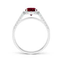 Toggle Round Garnet Halo Ring with Diamond Accents