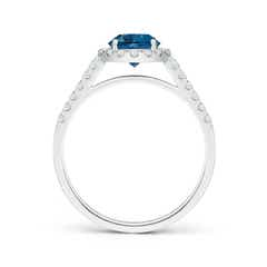 Toggle Round London Blue Topaz Halo Ring with Diamond Accents