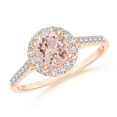 Cathedral Round Morganite Halo Ring with Diamond Accents