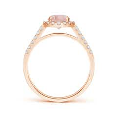Toggle Round Morganite Halo Ring with Diamond Accents