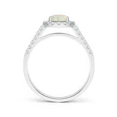 Toggle Round Opal Halo Ring with Diamond Accents
