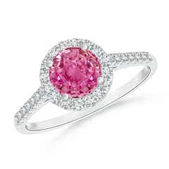 Round Pink Sapphire Halo Ring with Diamond Accents