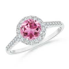 Round Pink Tourmaline Halo Ring with Diamond Accents