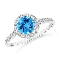 Round Swiss Blue Topaz Halo Ring with Diamond Accents