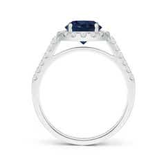 Toggle Round Sapphire Halo Ring with Diamond Accents