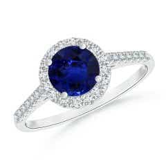 GIA Certified Round Sapphire Ring with Diamond Halo
