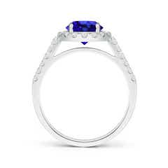 Toggle Round Tanzanite Halo Ring with Diamond Accents