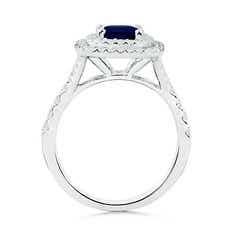 Toggle Cushion Sapphire Double Halo Ring with Diamond Accents