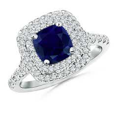 Cushion Sapphire Double Halo Ring with Diamond Accents