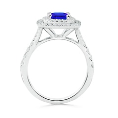 Toggle Cushion Tanzanite Double Halo Ring with Diamond Accents