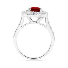 Toggle Cushion Ruby Double Halo Engagement Ring with Diamonds