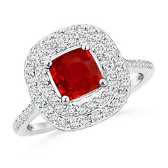 Cushion Ruby Double Halo Engagement Ring with Diamonds